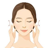 눈을 감고 손가락 중지, 약지를 이용하여 관자놀이 부분을<br />아래위로 3~4번 문질러 눈을 편안하게 이완시켜 줍니다.